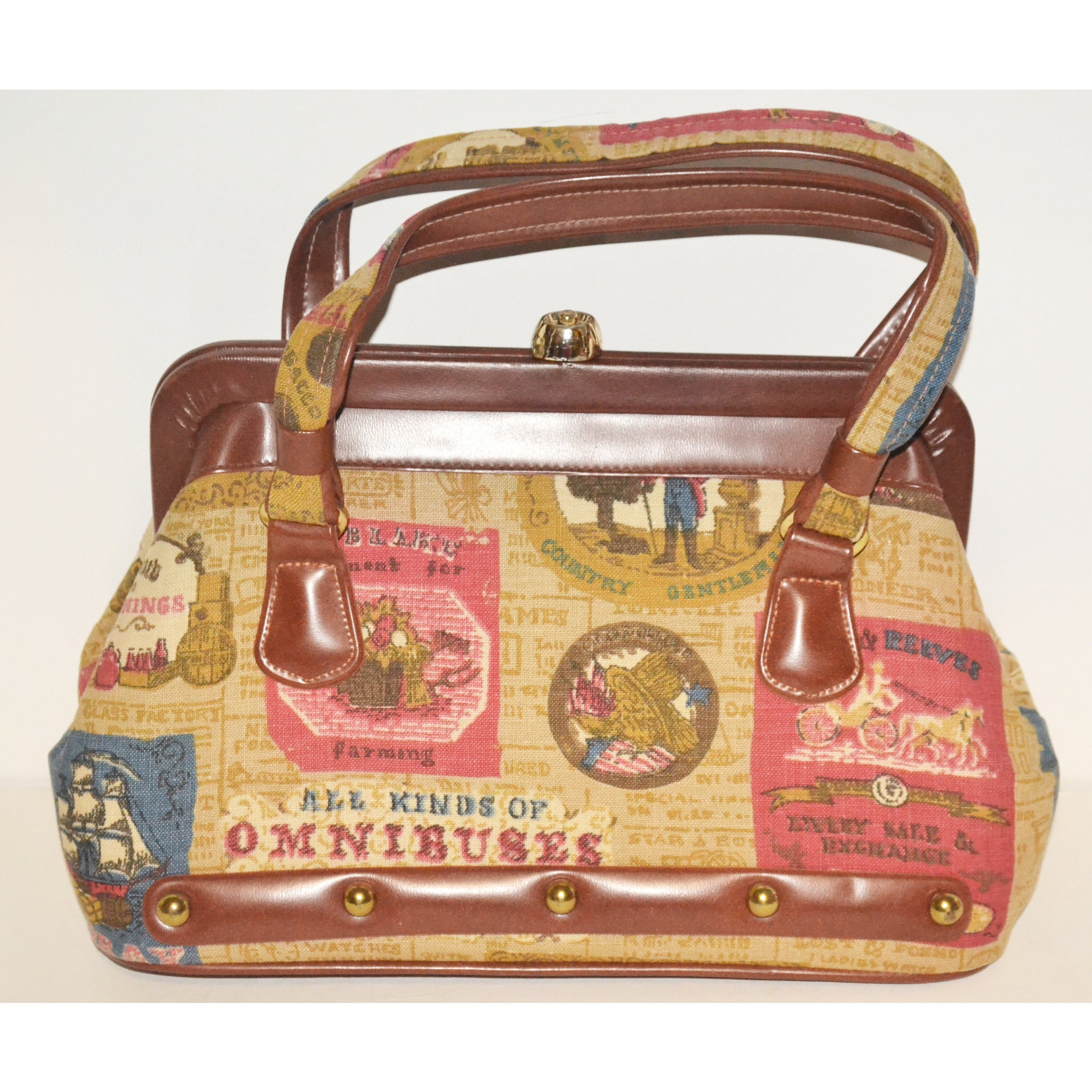 Vintage Old Fashion Print Purse By Kadin