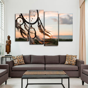 Dreamcatcher Sunset Multi Panel Canvas Wall Art - Native_american