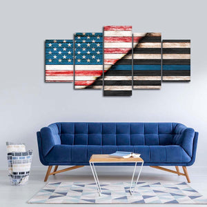 American Police United Multi Panel Canvas Wall Art - Police
