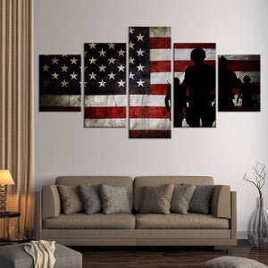 Military Mission Flag Multi Panel Canvas Wall Art - Army