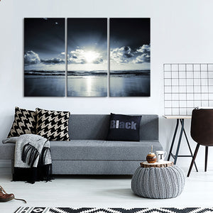 Black Sunset Multi Panel Canvas Wall Art - Beach