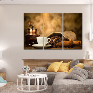 Coffee In Making Multi Panel Canvas Wall Art - Coffee