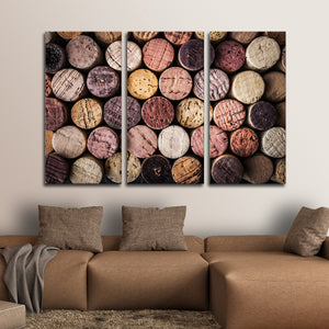 Colorful Corks Multi Panel Canvas Wall Art - Winery