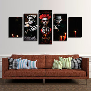 Day Of The Dead Multi Panel Canvas Wall Art - Skull