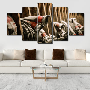 Firefighting Hose Multi Panel Canvas Wall Art - Firefighters