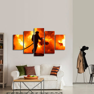 Fireman Multi Panel Canvas Wall Art - Firefighters