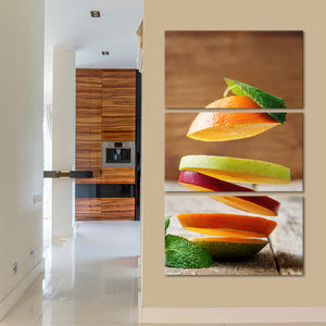 Flying Fruit Multi Panel Canvas Wall Art - Kitchen