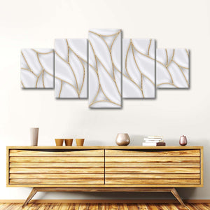Gold Abstract Outline Multi Panel Canvas Wall Art - Geometric
