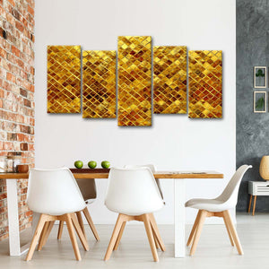 Gold Textured Glitters Multi Panel Canvas Wall Art - Gold