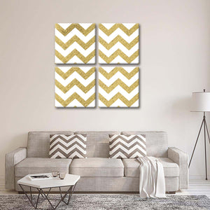 Gold Triangulars Multi Panel Canvas Wall Art - Gold