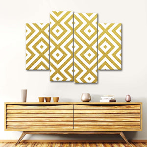 Golden Geometry Multi Panel Canvas Wall Art - Gold