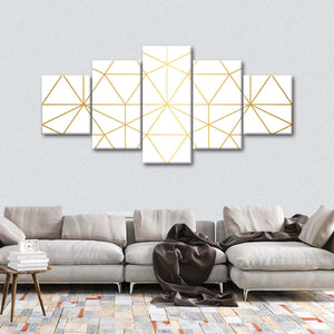 Golden Spatial Multi Panel Canvas Wall Art - Gold