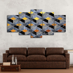 Golden Steps Multi Panel Canvas Wall Art - Geometric