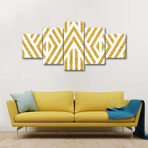 Golden Stripes Multi Panel Canvas Wall Art - Gold