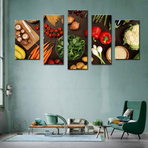 Vegetable Ingredients Multi Panel Canvas Wall Art - Kitchen