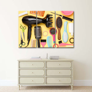 Hair Brushes Multi Panel Canvas Wall Art - Hair