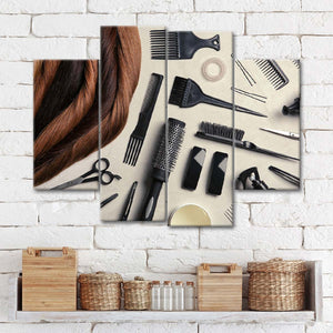 Hair Comb Accessories Multi Panel Canvas Wall Art - Hair