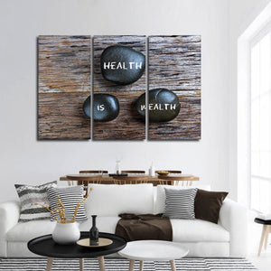 Health Is Wealth Multi Panel Canvas Wall Art - Medical