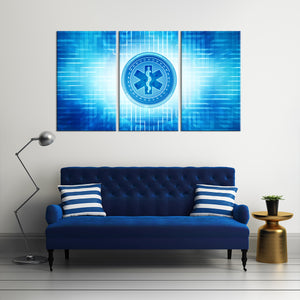 EMT Symbol Multi Panel Canvas Wall Art - Medical