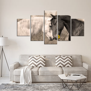 Horses Collide Multi Panel Canvas Wall Art - Horse