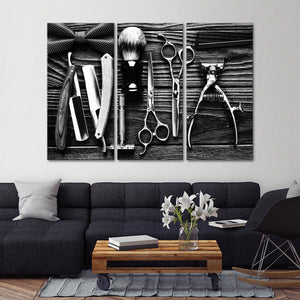 Lifestyle Barbershop BW Multi Panel Canvas Wall Art - Hair