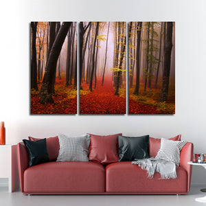 Misty Autumn Morning Multi Panel Canvas Wall Art - Nature