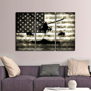 Navy Camo Flag Multi Panel Canvas Wall Art - Army