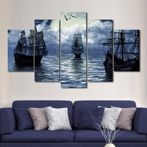 Old Sailing Boat Multi Panel Canvas Wall Art - Boat