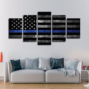 Police Flag Multi Panel Canvas Wall Art - Police