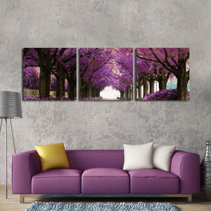 Purple Park Multi Panel Canvas Wall Art - Nature