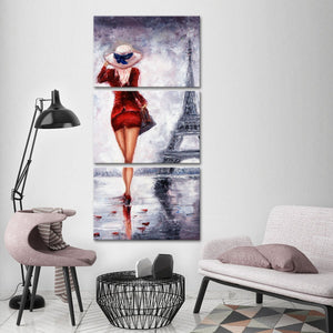 Red Paris Multi Panel Canvas Wall Art - Paris