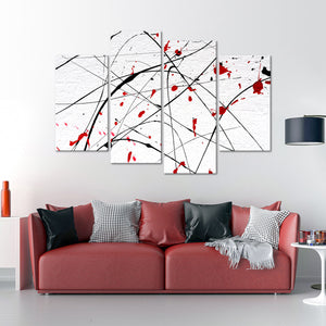 Red Wall Multi Panel Canvas Wall Art - Abstract