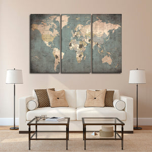Seek Locations Map Multi Panel Canvas Wall Art - World_map
