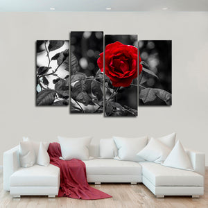 Single Rose Pop Multi Panel Canvas Wall Art - Rose