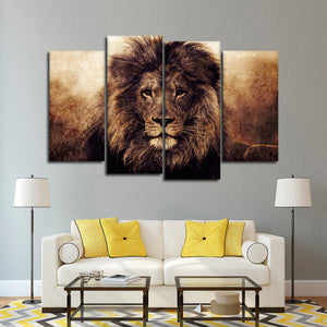 Textured Lions Fame Multi Panel Canvas Wall Art - Lion
