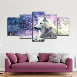 Textured White Wolf Multi Panel Canvas Wall Art - Wolf