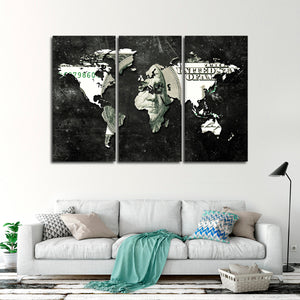 US Dollar Map Multi Panel Canvas Wall Art - World_map