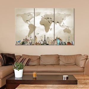 World Map Masterpiece with Church Multi Panel Canvas Wall Art - World_map
