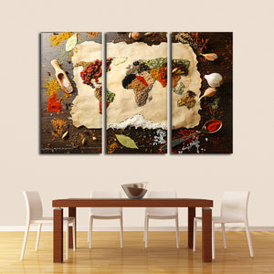 World Of Spices Multi Panel Canvas Wall Art - Kitchen