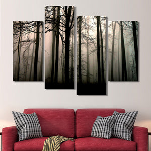 Forest Silhouette Multi Panel Canvas Wall Art - Gothic