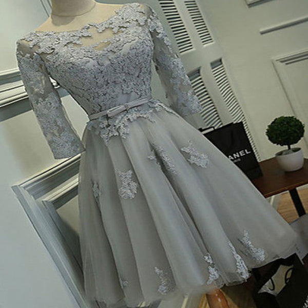 Grey lace tight simple lovely with half sleeve elegant homecoming prom gown dress,BD00123