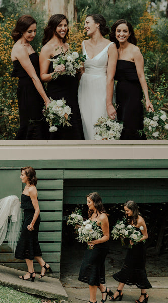Black Straight Mermaid Backless Tulle Affordable Bridesmaid Dress, FC1696