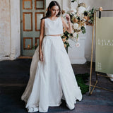 Charming Two Pieces A-Line Sleeveless Slit Inexpensive Wedding Dresses, FC2584