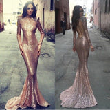 Sequin Long Sleeves High Neck Mermaid Open Back Cheap Long Prom Dress, WG516