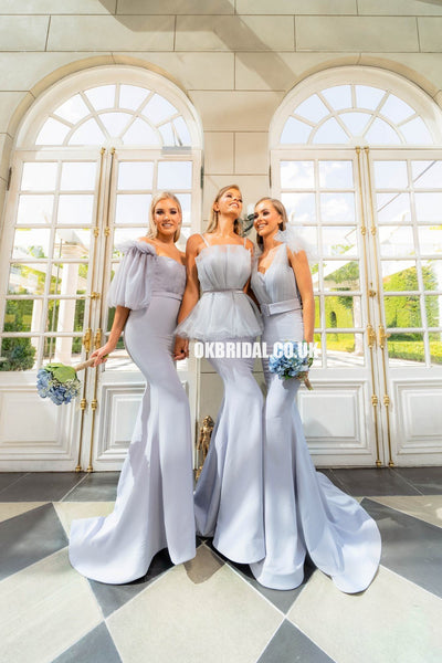 Elegant Mismatched Mermaid Backless Tulle Bridesmaid Dress, FC2262