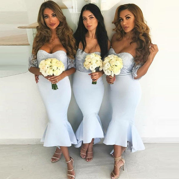 Newest Mermaid Lace Top High-low Backless Jersey Bridesmaid Dress, FC2609