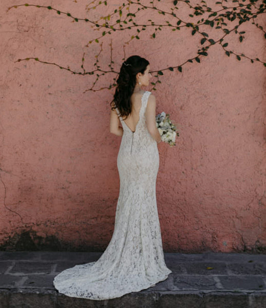 Beautiful Lace Mermaid Deep V-Neck Backless Long Floor-Length Sleeveless Wedding Dress, FC1481
