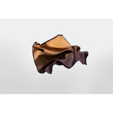 Peat Silk pocket square or neckerchief designed by Niki Fulton. Camel to deep purple silk square