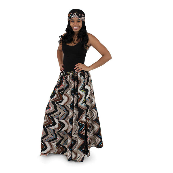 African Print Flared Maxi Skirt