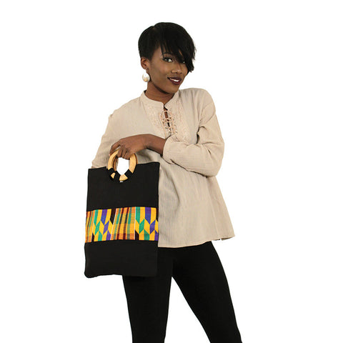 Black Kente Accent Tote